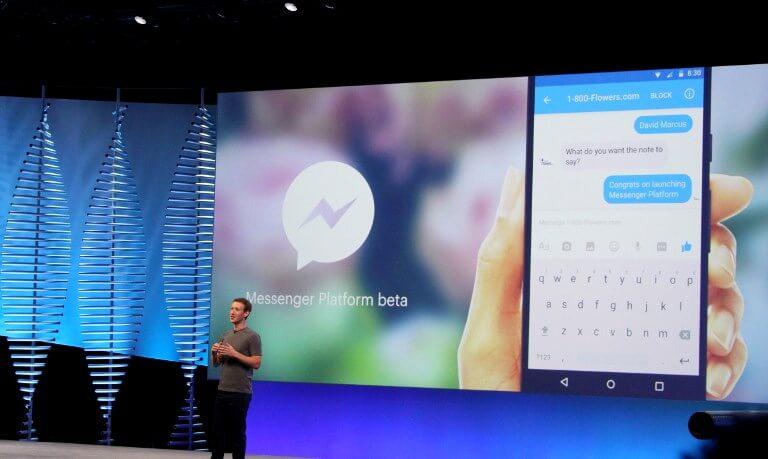 Mark Zuckerberg unveiling a Messenger chatbot in 2016