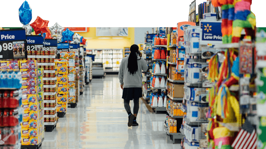 Man strolling through a supermarket, which could be given a new dimension with VR