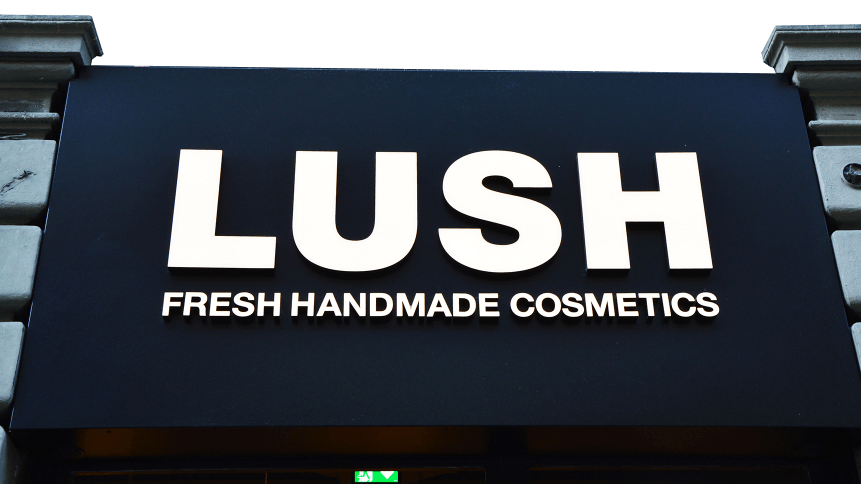 signboard of Lush store in Milan, Italy. Lush is a popular UK fresh handmade cosmetics products store.