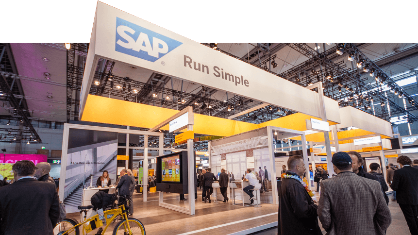 Booth of SAP company at CeBIT information technology trade show in Hannover