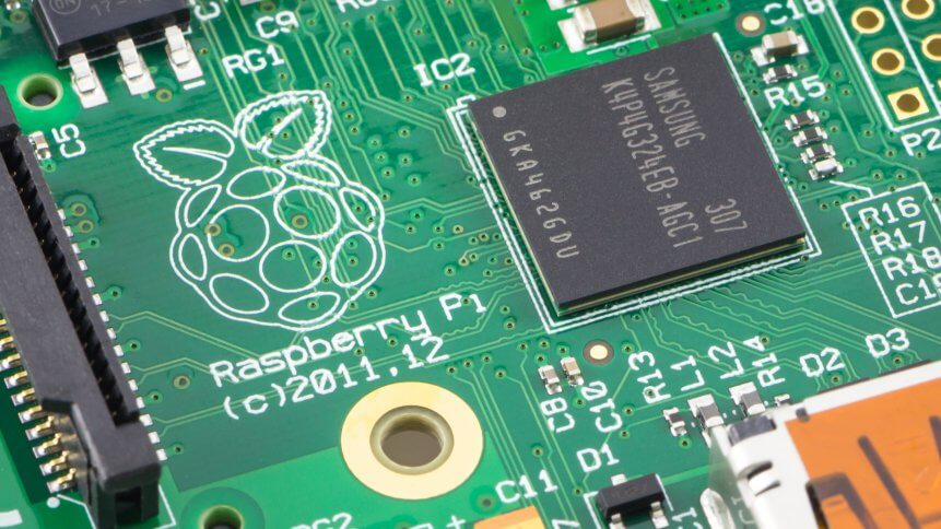Close-up of a Raspberry Pi Model-B Rev2