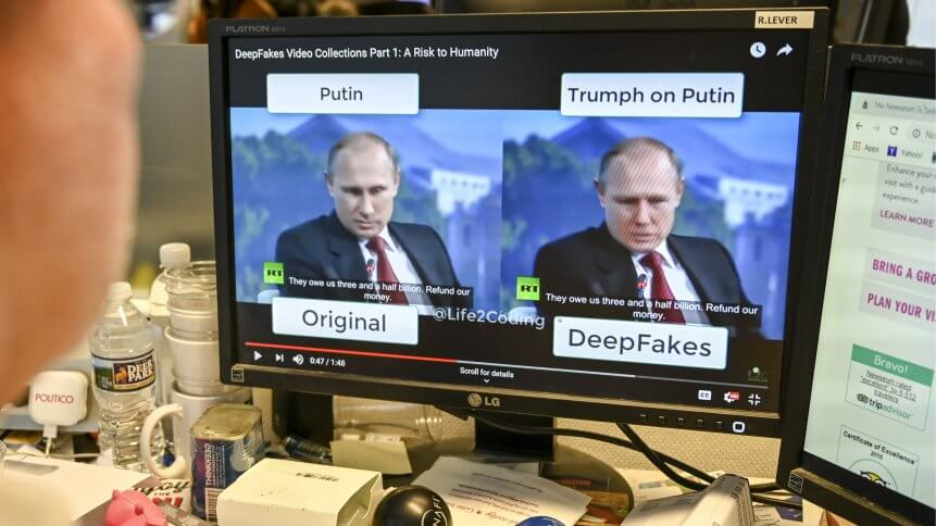 A deepfake video created with artificial intelligence.