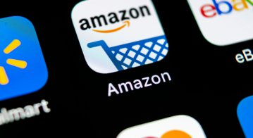 Amazon shopping application icon on Apple iPhone X screen