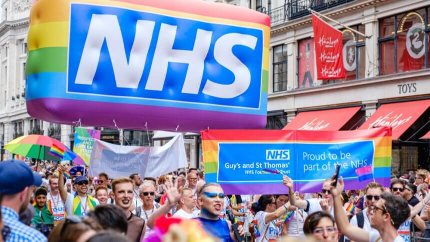 The NHS staff from Guys and St Thomas' hospital walking down Regent Street
