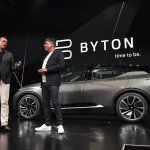 Byton executives speak during the launch of the Byton connected car during CES 2018