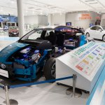 Toyota Prius PHV' half of body is displaying at Toyota Heartful Plaza