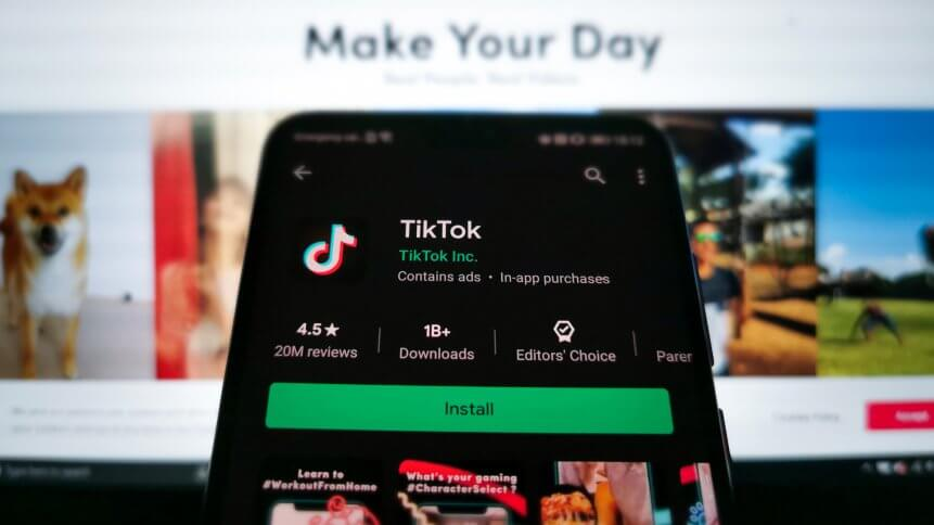 A picture of the TikTok download screen on Google Play Store