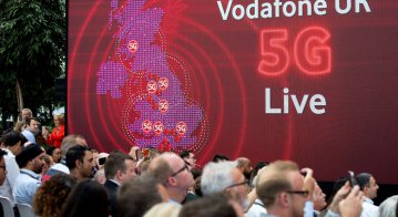 The launch of Vodafone UK's 5G mobile data network in London. Source: AFP