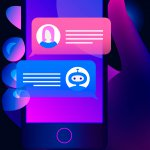 Chatbot concept. Hand holds a smartphone on the screen of which woman chatting with chat bot.