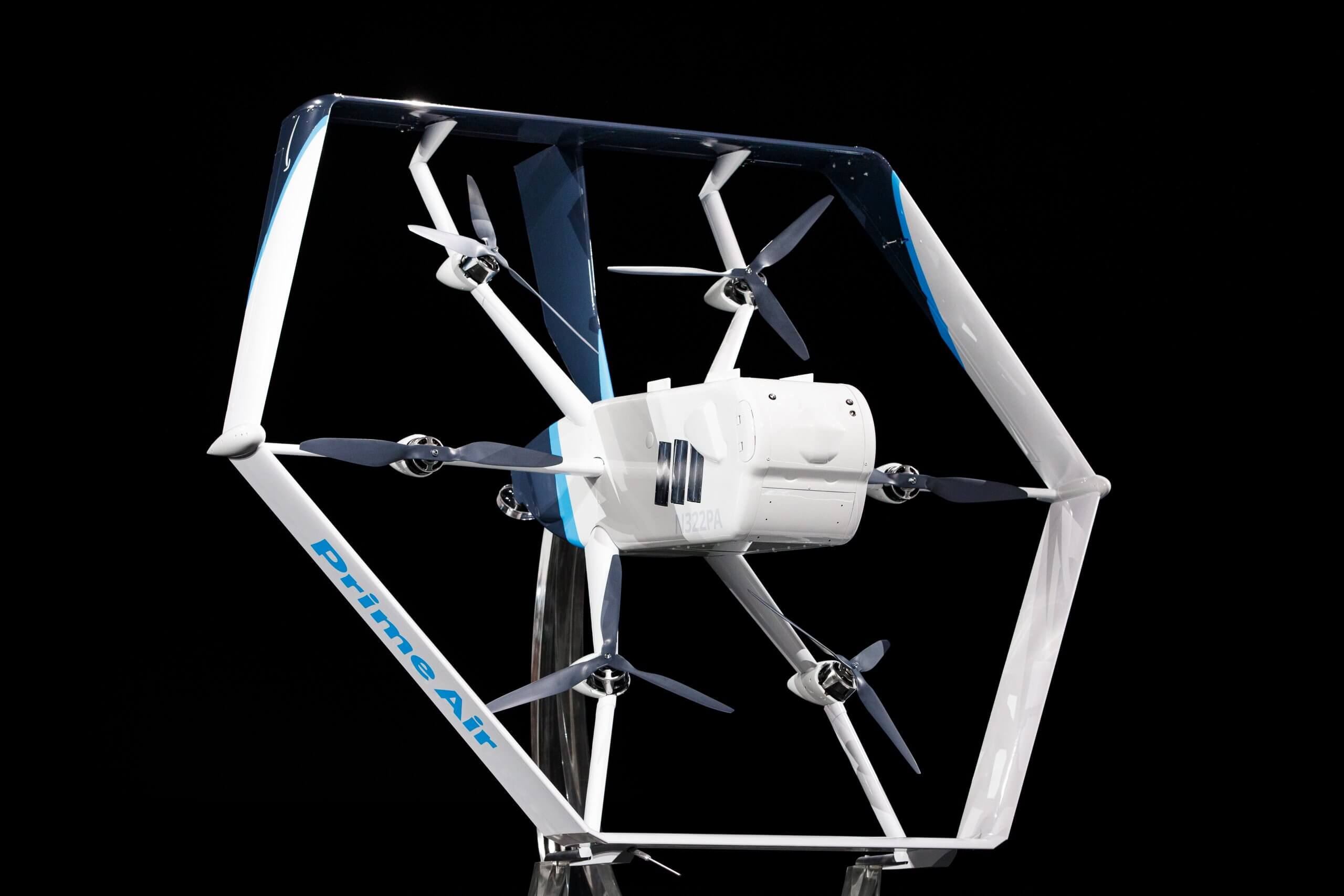 "In this image released by Amazon, the company unveils its newest drone design for its ""Prime Air"" fleet at the Machine Learning, Automation, Robotics and Space conference ""re: Mars"" in Las Vegas on June 5, 2019. - Amazon said Wednesday it expects to begin large-scale deliveries by drone in the coming months."
