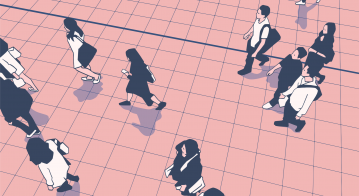 Illustration of people commuters walking in urban public transport station