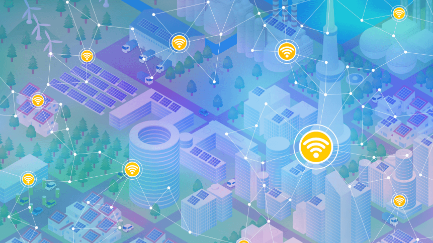 Internet of things, city and buildings, sensor network, abstract image vector illustration