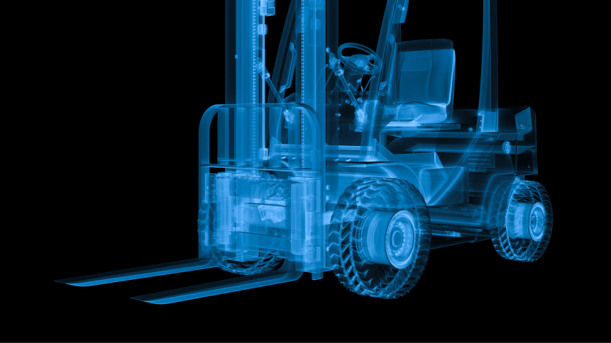 3d rendering x ray forklift truck isolated on black