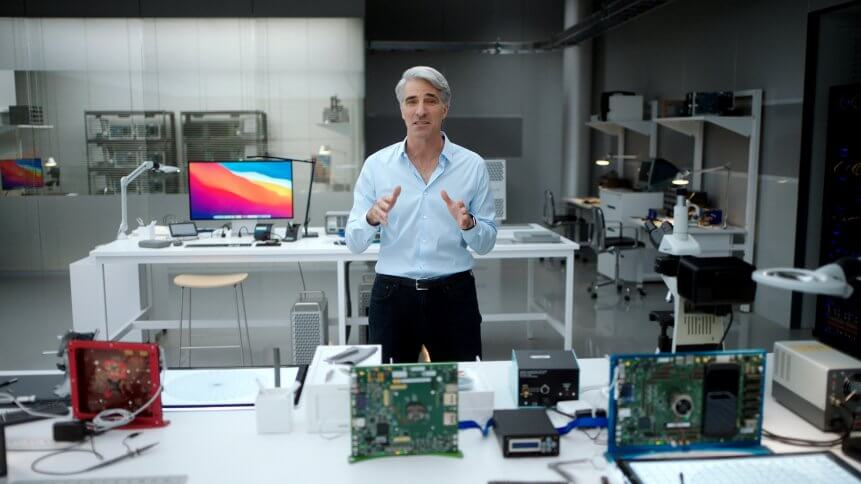 Apple's SVP of Software Engineering Craig Federighi showcases how Big Sur and Apple's advanced software technologies are optimized for M1 during a special event at Apple Park in Cupertino, California