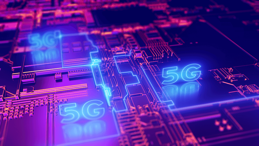 5G fifth generation cellular network technology. Broadband access 3D illustration concept.